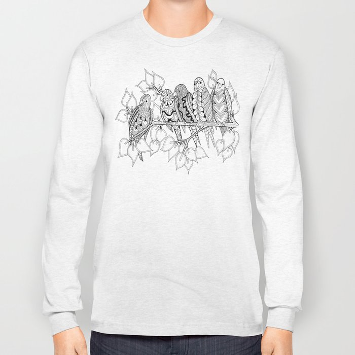 NOT Angry Birds - Zentangle Illustration Long Sleeve T-shirt