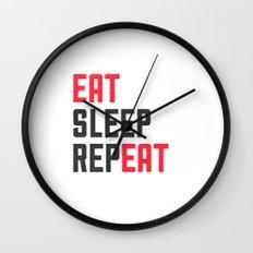 EAT SLEEP REPEAT Wall Clock