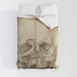 Skull - Leonardo Da Vinci Comforters
