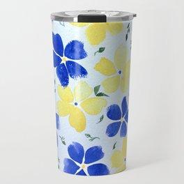 Yellow and Blue Flowers Travel Mug
