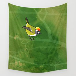 Firecrest (Regulus ignicapillus) Wall Tapestry