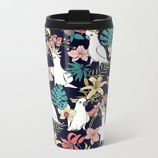 Cockatoo & Tropical Flora Metal Travel Mug