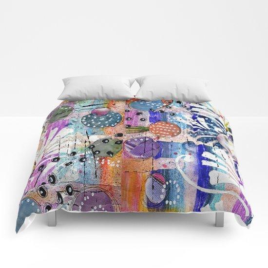 deep orange space Comforters