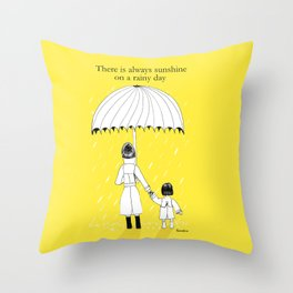 Mother and Daughter in the rain Throw Pillow
