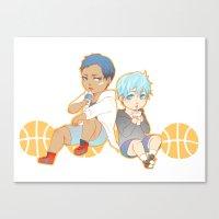 kuroko Canvas Prints featuring aomine daiki kuroko tetsuya by angryorangecat