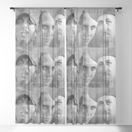 WARNER DRIVE portraits - black Sheer Curtain