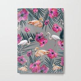 Flamingo Hibiscus Jungle Siesta #1 #tropical #decor #art #society6 Metal Print
