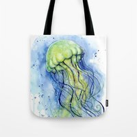 Tote Bags featuring Jellyfish Watercolor   Sea Creatures by Olechka