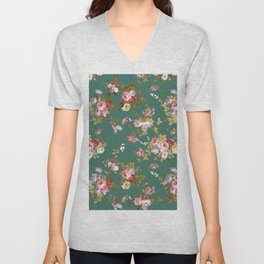 Country chic forest green gold boho floral Unisex V-Neck