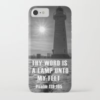 verse iPhone & iPod Cases featuring Bible verse - Donaghadee Lighthouse by cmphotography