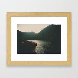Cliff Jumping Framed Art Print