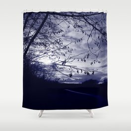 Sunset with hazel catkins Shower Curtain