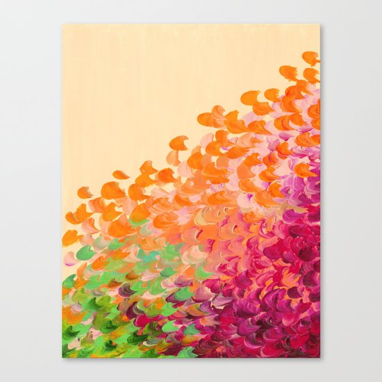 CREATION IN COLOR Autumn Infusion - Colorful Abstract Acrylic Painting Fall Splash Ombre Ocean Waves Canvas Print