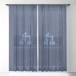Libra Constellation and Zodiac Sign with Stars Sheer Curtain
