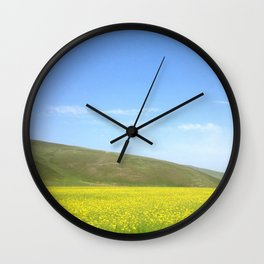 yellow flower field Wall Clock