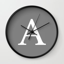Darker Gray Basic Monogram A Wall Clock