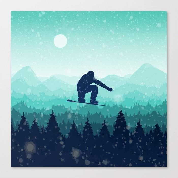 Snowboard Skyline II Canvas Print
