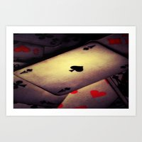 poker Art Prints featuring Poker  by    Amy Anderson