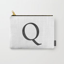 Letter Q Initial Monogram Black and White Carry-All Pouch