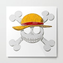 Luffy pirate hallowen Metal Print