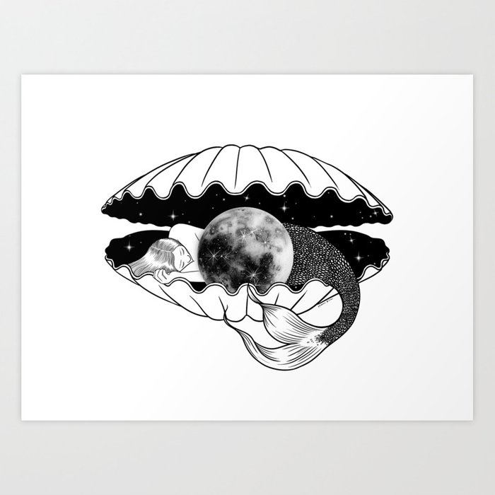 The moon under the sea Art Print