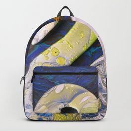 Swan A Swimming, an abstract acrylic painting by Sharon Perry Backpack