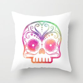 "Custom Design Modern Sugar Skull (""Calavera"") Throw Pillow"