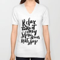 relax V-neck T-shirts featuring relax by Matthew Taylor Wilson