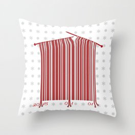 The New Year's bar code is made by knitting needle Throw Pillow