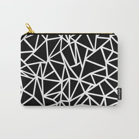 Abstract Outline Thick White on Black Carry-All Pouch