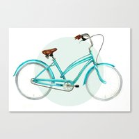 cycling Canvas Prints featuring Cycling by stardustsoul