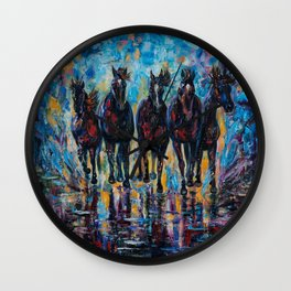 Free Roaming Wild Horses  Painting with a Palette Knife by OLena Art  Wall Clock