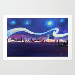 Starry Night in Hamburg   Van Gogh Inspirations in Hamburg Harbour with Elbe Philharmonic Hall Art Print
