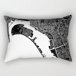 San Diego Black And White Map Rectangular Pillow