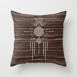 Triple Goddess - Flower of Life - Moon Phase - Shaman - Tribal - Sri Yantra - Brown Marble - Wood - Throw Pillow