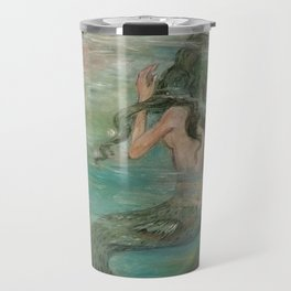 could we be friends? Bffs bestfriends mermaid and beautiful lady boat on the ocean at sunset Travel Mug