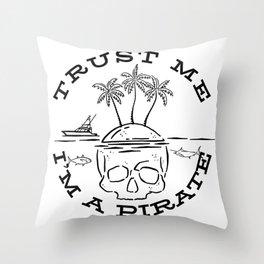 Pirate Costume / Skull Graphic Palm Trees Island Design design Throw Pillow