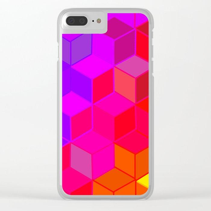 3D Mosaic Rainbow Clear iPhone Case