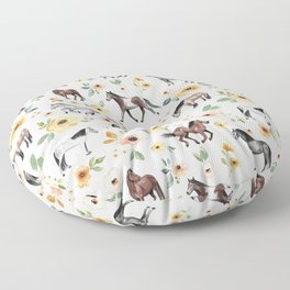 Horses and Flowers, Sunrise Floral, Cream, Horse Print, Horse Illustration, Pink and Yellow, Equestrian, Little Girls Floor Pillow