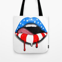 patriotic Tote Bags featuring Patriotic Lips by BumbleBee2013