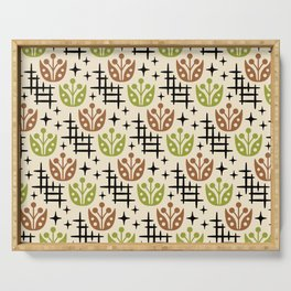 Mid Century Modern Space Flower Pattern Brown and Chartreuse Serving Tray