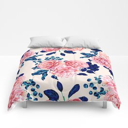 Girly Pink Navy Blue Country Painted Flowers Comforters