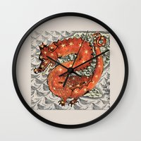 carpe diem Wall Clocks featuring Carpe Diem by anipani