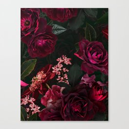 Vintage & Shabby Chic - Night Botanical Flower Roses Garden Canvas Print