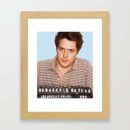 Painting of Hugh Grant Mug Shot 1995 Black Color Mugshot Framed Art Print