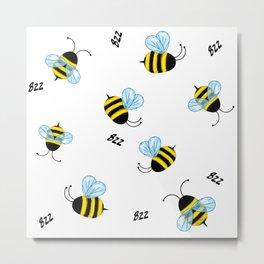 Buzzing Bees Metal Print