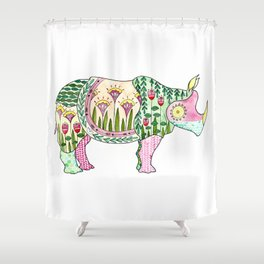 Floral Pattern Rhino Shower Curtain