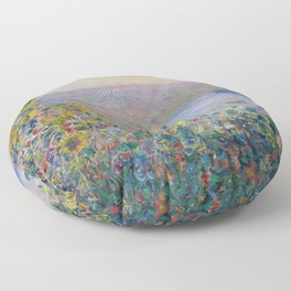 Flower Beds at Vetheuil by Claude Monet Floor Pillow