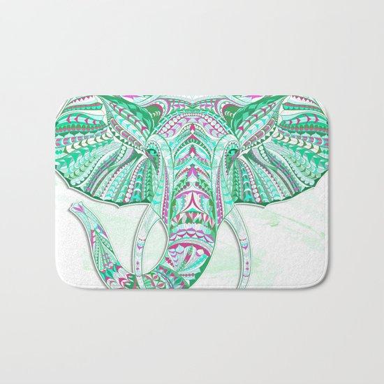 Sea Green Ethnic Elephant Bath Mat