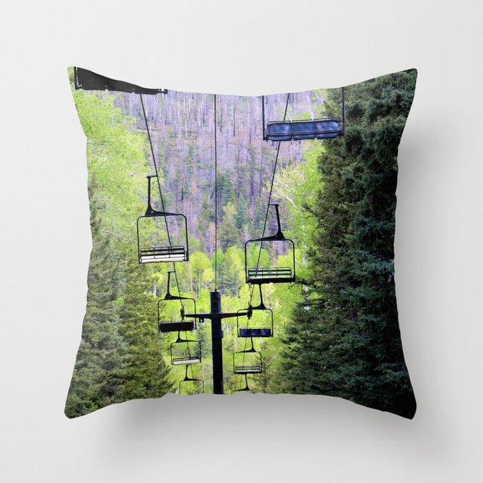 Ski Green Throw Pillow